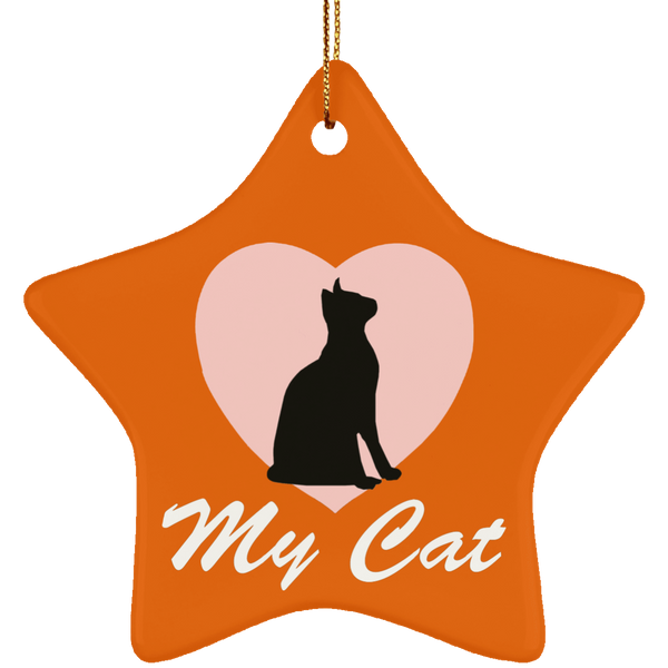 Love My Cat Ceramic Star Ornament