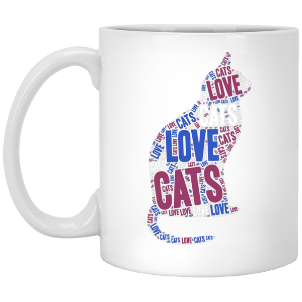 Love Cats Word Cloud 11 oz. White Mug - BinXzay
