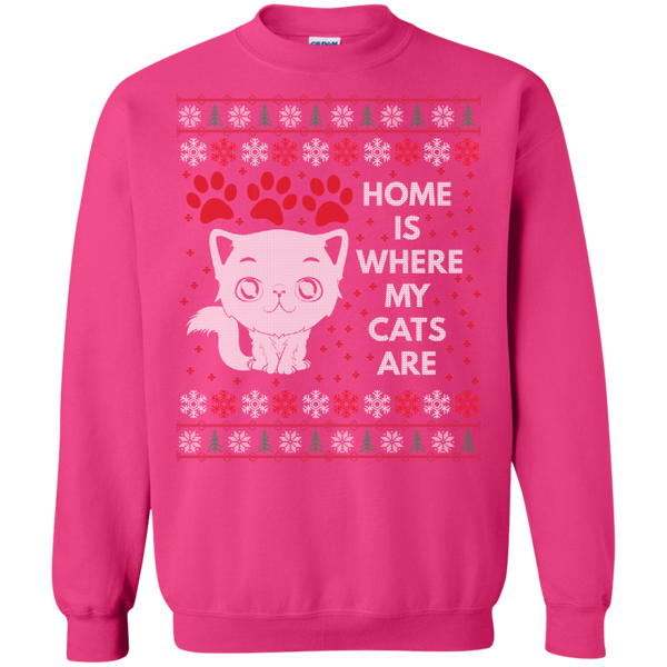Home Is Where My Cats Are Funny Unique Cat Ugly Sweater Design Crewneck Pullover Sweatshirt - BinXzay