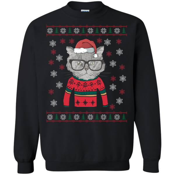 Funny Cat Head with Glasses Ugly Christmas Sweatshirt - BinXzay
