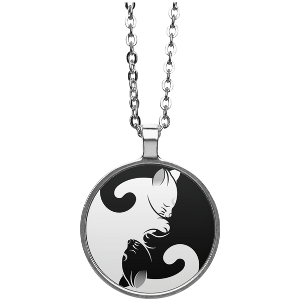 Cat Yin Yang Circle Necklace - BinXzay