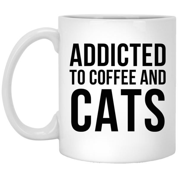 Addicted to Coffee and Cats 11 oz. Coffee Mug - BinXzay