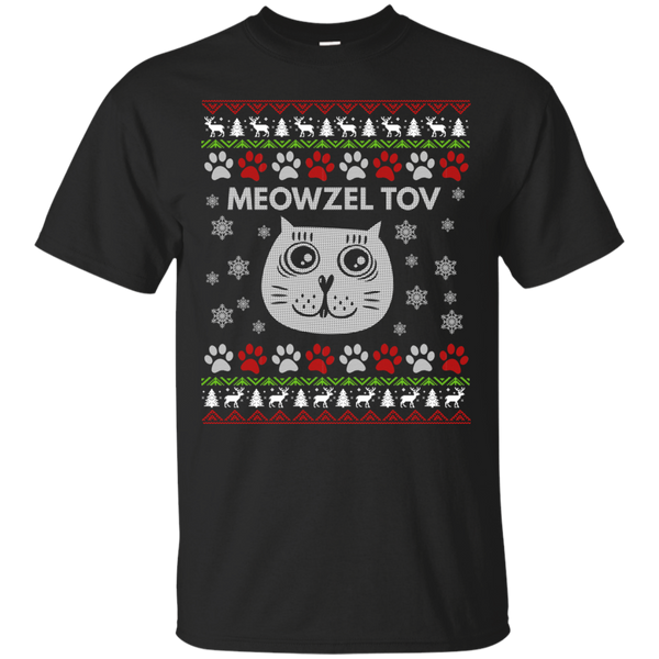 Meowzel Tov Funny Unique Cat Ugly Sweater Design Cotton T-Shirt
