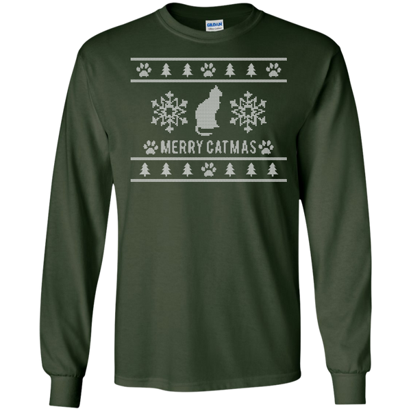 Merry Catmas Ugly Sweater Design Long Sleeve Shirt - BinXzay