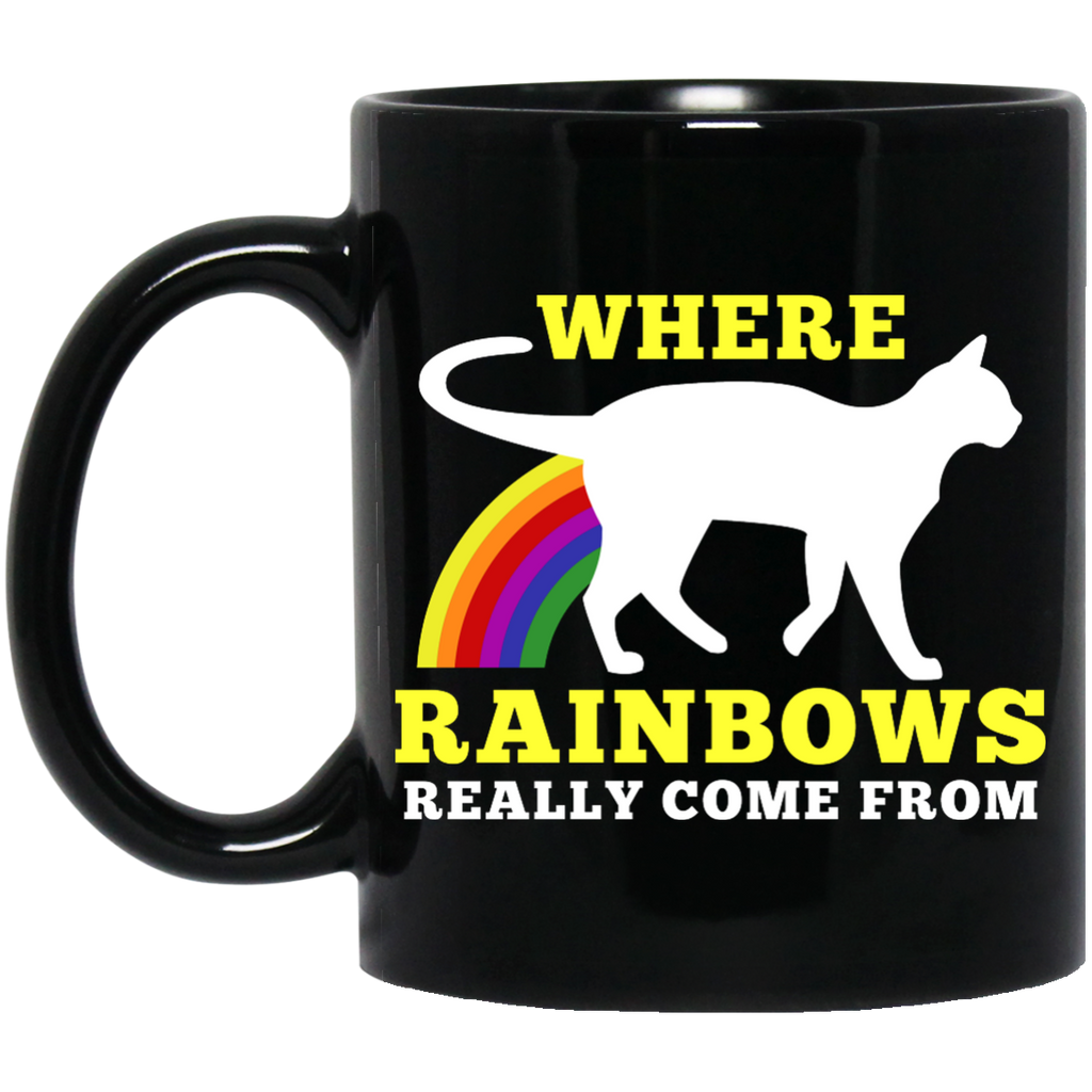 Where Rainbows Really Come From Cat Black 11 oz. Mug