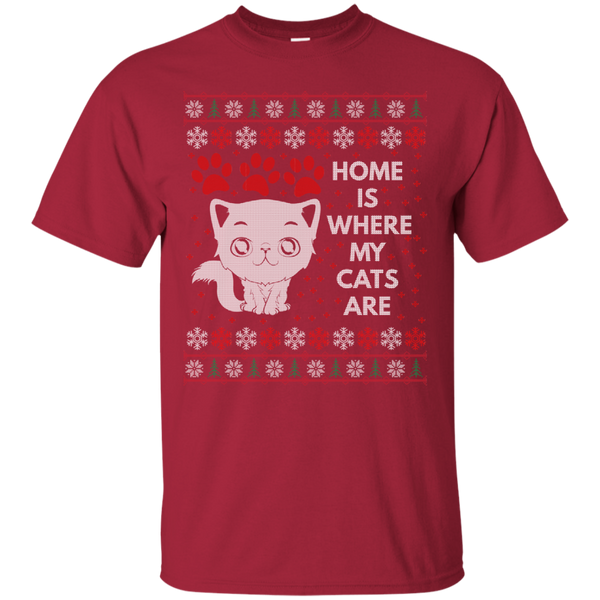Home Is Where My Cats Are Funny Unique Cat Ugly Sweater Design Cotton T-Shirt