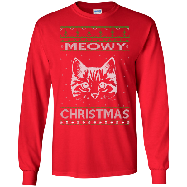 Meowy Christmas Ugly Christmas Sweater Design Long Sleeve T-Shirt - BinXzay