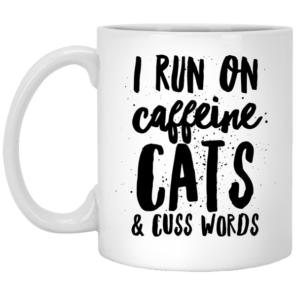 I Run on Caffeine Cats and Cuss Words Mug - BinXzay