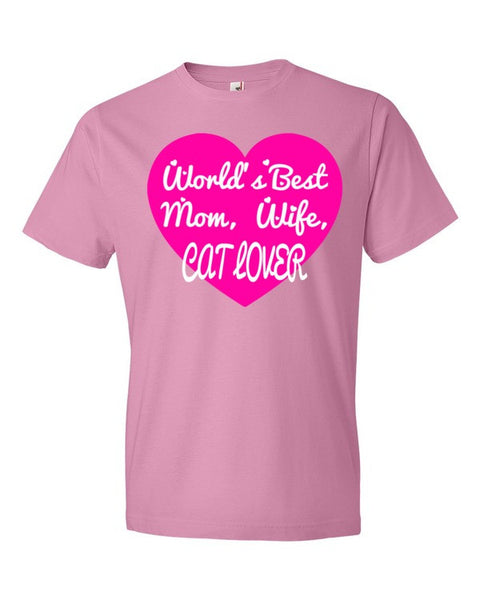 Worlds Best Mom, Wife, Cat Lover Adult T-Shirt - BinXzay