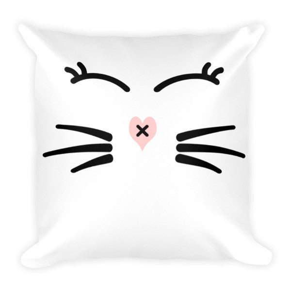 Whiskers and Lashes 18 x 18 Pillow - BinXzay