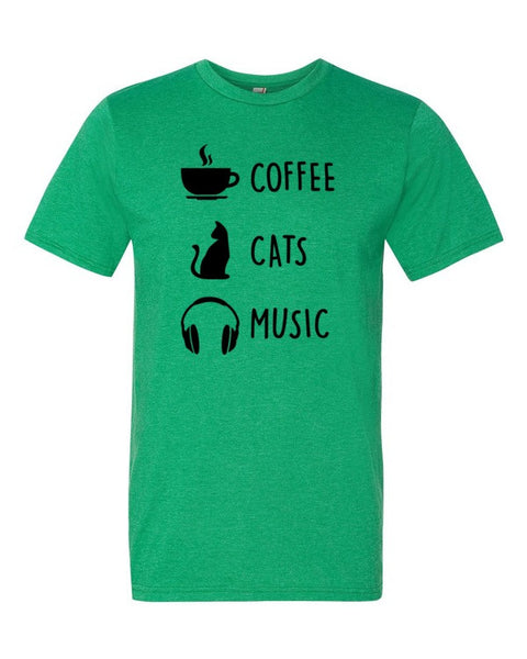 Coffee Cats Music Adult Cotton T-Shirt - BinXzay