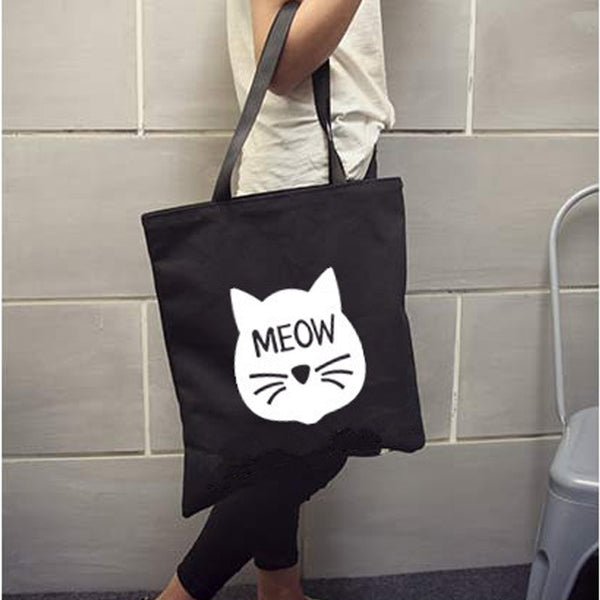 Cartoon Cat Meow Whiskers Printed Canvas Tote - BinXzay