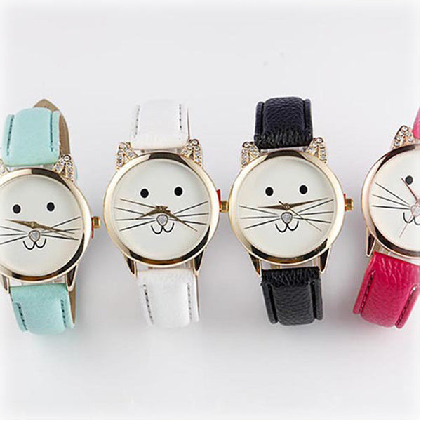 Cats Face Leather Watch - BinXzay