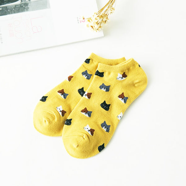 Women's Cotton Cartoon Cute Cat Face Socks Short - Multiple Colors - BinXzay