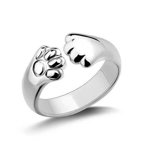 Cute Animal Cat Paw Silver Plated Claw Open Ring - BinXzay