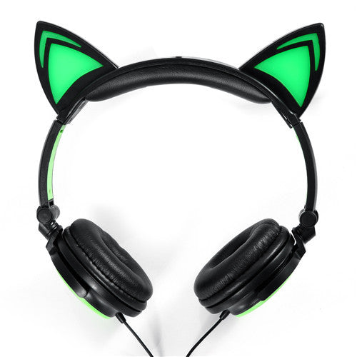 Cute Foldable Flashing Glowing Cat Ear Headphones - BinXzay