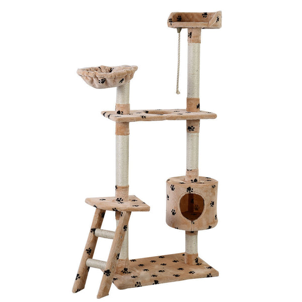 "60"" Beige Cat Tree Tower Condo Scratcher Furniture  with Paw Print Design and Hammock"