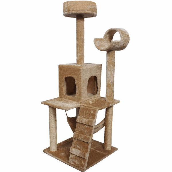 "52"" Cat Kitty Tree Tower Condo Furniture w/ Scratch Post and Bed - Beige - BinXzay"