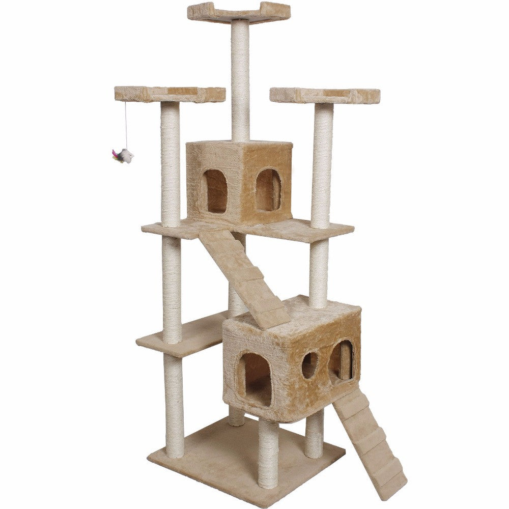 "73"" Cat Kitty Tree Tower Condo Furniture w/ Scratch Post and Bed - Beige"