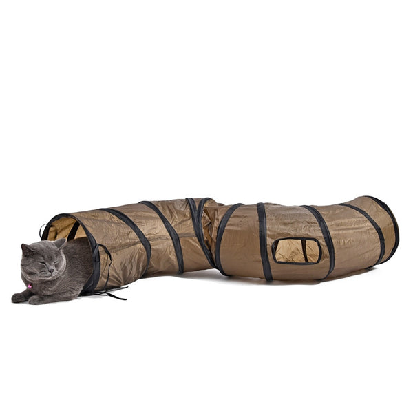 S Shaped Foldable Brown Cat Play Tunnel - BinXzay