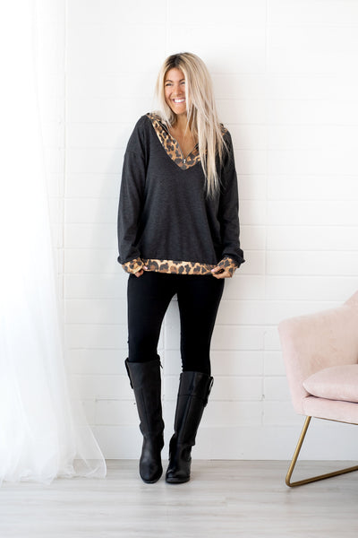 Animal Print Half Zip Contrast Top