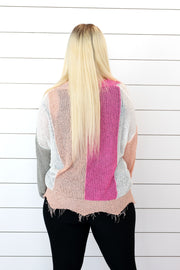 Frayed V Neck Color Block Sweater-New Release Promo