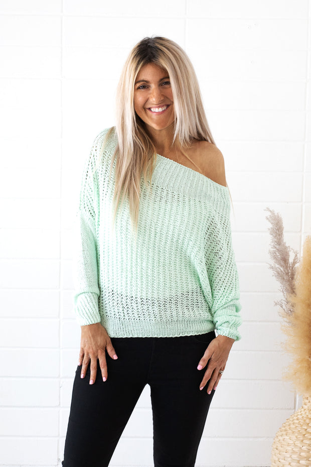 Off One Shoulder Long Sleeve Mint Sweater