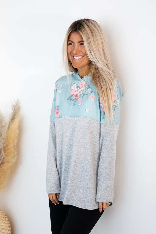 Baby Blue Floral Colour Block Hoodie