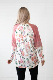 Mauve Floral Colour Block Top