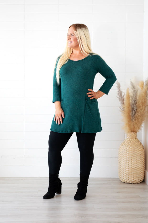 Hunter Green Beauty Soft Pocket Tunic Top-Promo