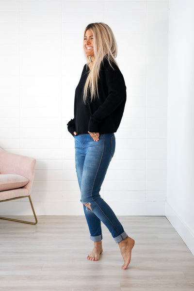 TWIST-BACK KNIT SWEATER