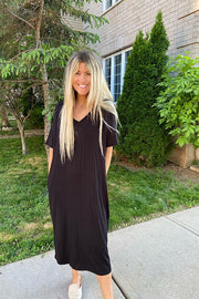 Little Black Cozy T Shirt Pocket Dress