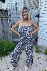 Waffle Animal Print Strapless Tube Jumpsuit
