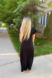 Stunning Black Waist Tie Maxi Dress