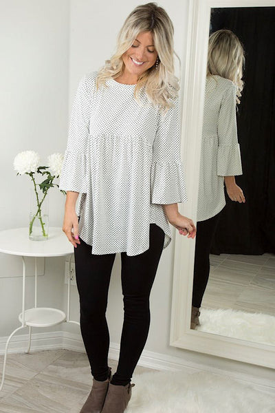 Off White Polka Dot Babydoll Tunic Top