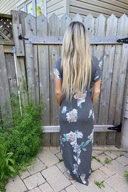 Floral Lovers In Paradise Maxi Dress in Charcoal