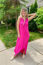 Fuchsia Sleeveless Hi Low Maxi Dress- Weekend Promo
