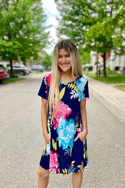 Navy Floral Love Life Dress