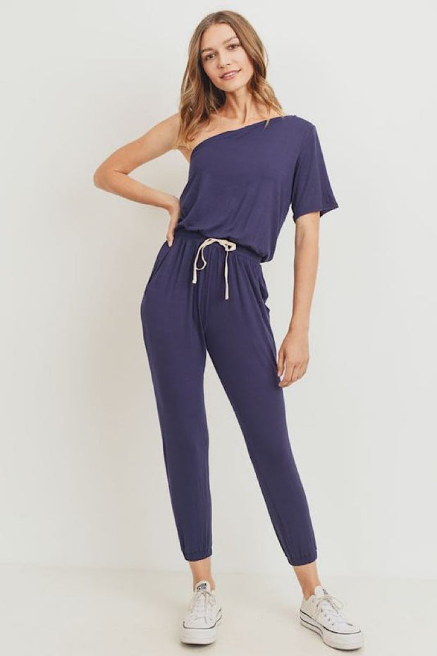 Cozy Navy One Shoulder Jumpsuit