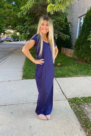 Navy Boat Neck Maxi Dress