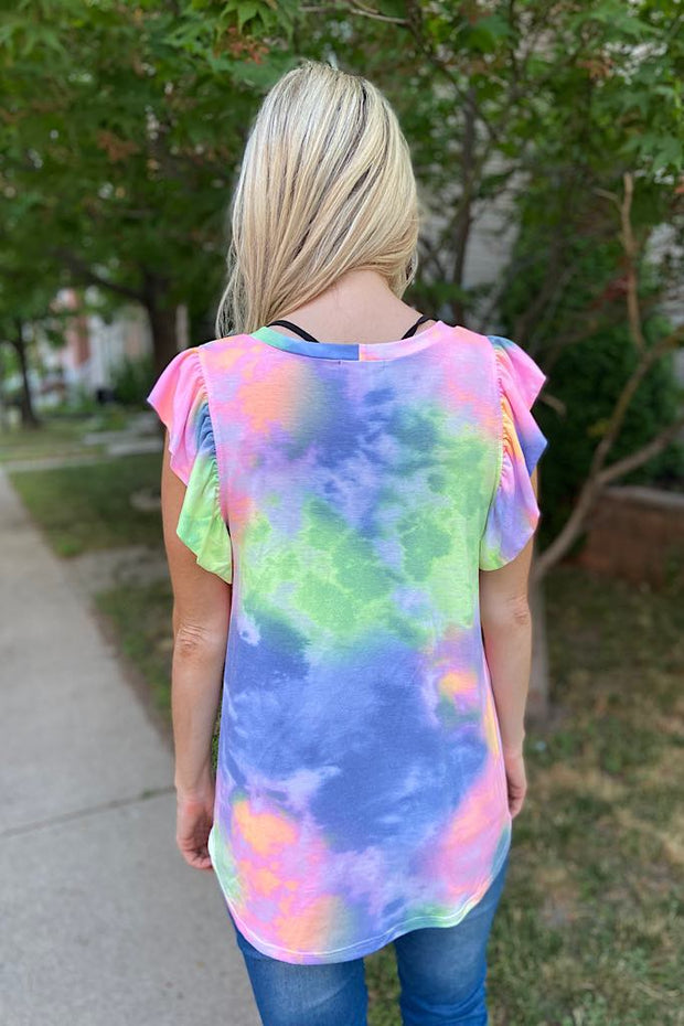 Purple Multi Tie Dye Top