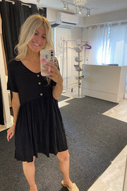 Cutest Black Button Detail Babydoll Dress