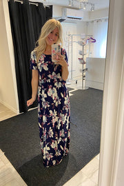 The Beatrice Navy Floral Maxi Dress