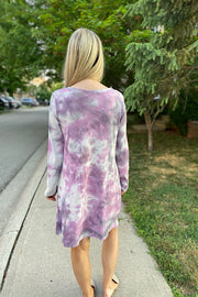Purple Swirl Tie Dye Knot Dress
