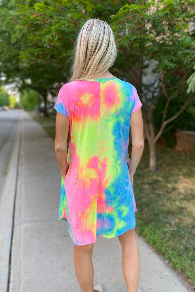 Rainbow Dreams Tie Dye Swing Dress