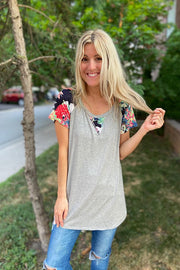 Grey Pop of Florals Top