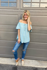 Mint Off The Shoulder Summer Top
