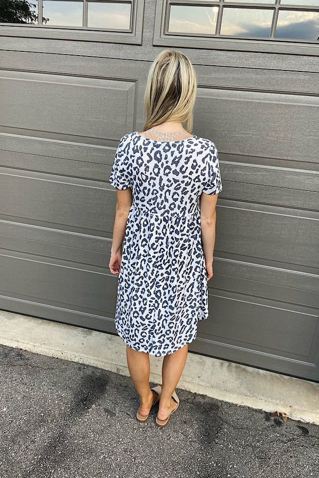 Navy Animal Print French Terry Babydoll Dress