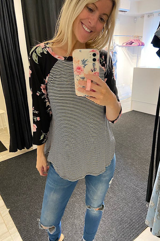 Striped Floral Jersey Raglan Top