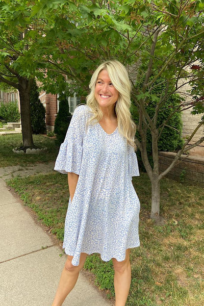 Baby Blue Animal Print Bell Sleeve Dress